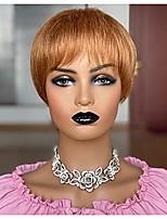 cheap -short pixie cut wigs for black women light brown human hair layer wigs with bangs