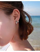 cheap -Women's AAA Cubic Zirconia Stud Earrings Fashion Statement European Fashion Earrings Jewelry Silver For Street Gift Vacation 1 Pair