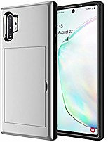 cheap -samsung galaxy note 10 plus case,galaxy note 10+ 5g wallet case credit card holder slot magnetic adsorption tpu armor duty case cover shockproof protective for galaxy note 10 plus case (sliver)