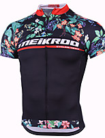cheap -21Grams Men's Short Sleeve Cycling Jersey Polyester Black Floral Botanical Bike Jersey Top Mountain Bike MTB Road Bike Cycling Breathable Quick Dry Reflective Strips Sports Clothing Apparel