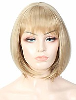 cheap -12 inch medium blonde bob wigs with bangs natural hair heat resistant short straight wig shoulder length synthetic hair cosplay party wig for women