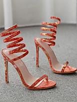 cheap -Women's Heels Stiletto Heel Open Toe Roman Shoes Daily Walking Shoes PU Geometric Red