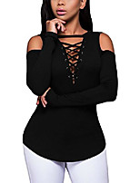 cheap -women's sexy cold shoulder blouse lace-up ribbed tops black
