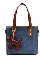 cheap -Women's Bags PU Leather Tote Top Handle Bag Zipper Cartoon 2021 Daily Going out Black Blue Green Brown