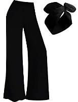 cheap -palazzo pant women's stretchy wide leg pants lounge pants with headband (xxxl) black