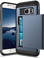 cheap -case for samsung galaxy s7 dual layer protective shell galaxy s7 wallet case hard pc soft tpu inner rubber bumper credit card slot back shock absorption cover for galaxy s7 dark blue