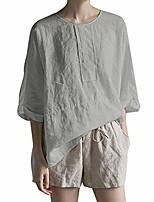 cheap -women summer cotton linen blouseloose 3/30 sleeve split hem casual shirt grey