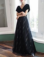 cheap -A-Line Elegant Glittering Engagement Formal Evening Dress V Neck Short Sleeve Floor Length Tulle Velvet with Sequin 2020