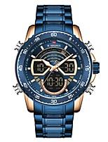 cheap -NAVIFORCE Men's Sport Watch Quartz Modern Style Sporty Luxury Water Resistant / Waterproof Analog - Digital Golden / Brown Black / Silver Blue / Two Years / Stainless Steel / Japanese