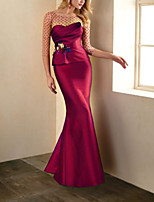 cheap -Mermaid / Trumpet Elegant Floral Wedding Guest Formal Evening Dress Illusion Neck Half Sleeve Sweep / Brush Train Taffeta Tulle with Appliques 2020