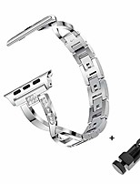 cheap -metal replacement band compatible with apple watch 38mm 40mm 42mm 44mm reinstone watch band strap for iwatch series 5 4 3 2 1 (silver, 42mm/44mm)