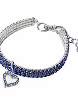 cheap -pet collar,bling bling crystal elastic love dog collar fancy rhinestone cat collar necklace for cats small dogs (m :25cm, blue)