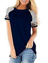 cheap -womens casual t-shirts short sleeve leopard color block patchwork t shirt boutique striped cute comfy tops blouse black
