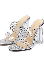 cheap -Women's Heels Chunky Heel Open Toe Casual Daily Walking Shoes PVC Rivet Solid Colored Silver