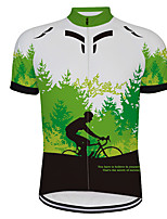 cheap -21Grams Men's Short Sleeve Cycling Jersey Black / Green Bike Jersey Top Mountain Bike MTB Road Bike Cycling UV Resistant Breathable Quick Dry Sports Clothing Apparel / Stretchy / Reflective Strips