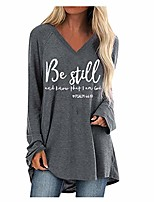 cheap -women fashion v neck long sleeve shirt loose fit 2020 new spring off shoulder casual bandage fashion tops long sleeve shirts blouse ladies letter printed plus size blouse gray