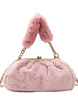 cheap -Women's Bags Faux Fur Top Handle Bag Zipper Daily Outdoor Handbags Baguette Bag White Black Blushing Pink Khaki