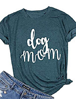 cheap -dog mom t shirt womens funny cute letter printed graphic tee dog lover shirt tops (l, green)