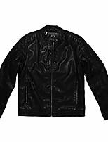 cheap -alta men's motorcycle faux leather jacket indigo star zip up outerwear, xl black
