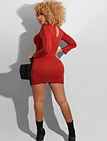 cheap -Women's Sheath Dress Short Mini Dress - Long Sleeve Solid Color Print Fall Plus Size Casual 2020 Blue Red Yellow S M L XL XXL 3XL 4XL