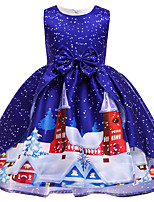 cheap -Kids Toddler Little Girls' Dress Santa Claus Cartoon Polka Dot Christmas Bow Print Blue Above Knee Sleeveless Active Cute Dresses Christmas Slim
