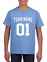 cheap -custom t-shirt jersey | youth sizes | add your team name & number| unisex, 100% cotton carolina blue