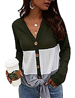 cheap -womens waffle knit tie knot shirts long sleeve v neck loose color block tops blouse(army green,xl)