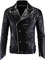 cheap -men's fashion skull studded asymmetrical zip quilted pu leather jacket (large, black)