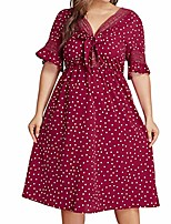 cheap -fashion womens plus size sexy red polka dot ladies casual summer dress