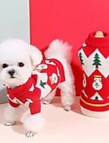 cheap -Dog Costume Sweater Snowflake Christmas Tree Cute Casual / Daily Winter Dog Clothes Puppy Clothes Dog Outfits Breathable Red Costume for Girl and Boy Dog Knitted S M L XL XXL 3XL