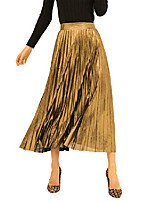 cheap -women's premium metallic holiday pleated skirts shimmer sparkly formal accordion midi skirt(sk003-gold-l)