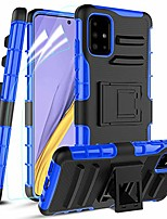 cheap -samsung galaxy a51 case,samsung a51(4g) case with 2 pcs soft screen protector&built-in kickstand,[skockproof] dual layer full-body protective phone case cover for women/men,blue