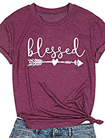 cheap -kiddad blessed t-shirt women letter print shirt graphic print short sleeve thankful tee shirt tops blouse size l (wine red)