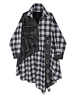 cheap -Women's Shirt Dress Midi Dress - Long Sleeve Color Block Check Patchwork Print Fall Casual 2020 Black One-Size