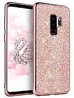 cheap -galaxy s9 plus case, glitter bling slim hybrid hard pc cover shockproof non-slip full body protective phone case for samsung galaxy s9 plus for women/girls,rose gold/pink