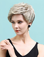 cheap -Human Hair Blend Wig Short Straight Natural Straight Bob Pixie Cut Layered Haircut Asymmetrical White Brown Cosplay Classic Curler & straightener Capless Women's All Sliver White Golden Brown / Ash