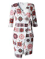 cheap -Women's Sheath Dress Midi Dress - 3/4 Length Sleeve Print Patchwork Print Fall V Neck Plus Size Elegant Sexy Slim 2020 White Black Blue M L XL XXL 3XL