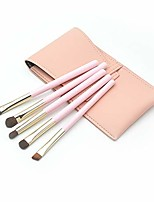 cheap -makeup brush set,  5 pcs premium cosmetic pink wooden handle fiber makeup brush set for concealer eyebrow eye line eyeshadow with bag (5x, pink)