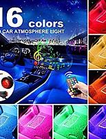 cheap -car interior lights,car led strip lights,light neon car kit,4pcs 48led car decoration lights,with sound multicolor music control rhythm lights and wireless ir remote control(wireless remote control)