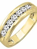 cheap -1.00 carat (ctw) 14k yellow gold round lab grown white diamond mens anniversary wedding band 1 ct, yellow gold, size 12.5