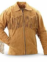 cheap -cocobee men's fringes western suede leather jacket fashion leather jacket slimfit biker jacket black