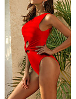 cheap -Women's Fashion Sexy One Piece Swimsuit Cut Out Bow Padded Normal Strap Swimwear Bathing Suits Black Red Green / Padded Bras