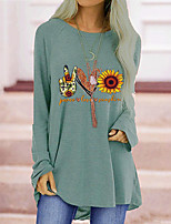 cheap -Women's Tunic Floral Plain Letter Long Sleeve Print Round Neck Tops Cotton Basic Basic Top Black Blue Red