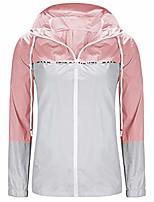 cheap -pervobs women waterproof raincoat outdoor hooded rain jacket windbreaker color block zipper up lightweight jacket coat(s, pink)