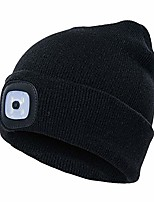 cheap -st.patrick's day unisex knit led beanie cap winter warm detachable headlamp hat for hiking,jogging,camping,handyman working (black)