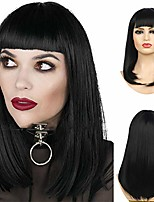 cheap -halloweencostumes black bob wig with flat bangs for women straight shoulder length synthetic natural hair wig halloween cosplay wig