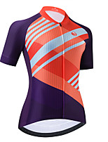 cheap -Women's Short Sleeve Cycling Jersey Purple Stripes Bike Top Mountain Bike MTB Road Bike Cycling Breathable Quick Dry Sports Clothing Apparel / Stretchy / Athletic