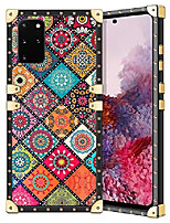 cheap -for galaxy s20 plus case square glitter edges stylish luxury totem pattern for women girls protective corner soft slim tpu shell cover for samsung galaxy s20 plus s20+ 6.7 inch retro mandala