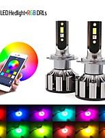 cheap -Led RGB Headlight APP Bluetooth Control Multi Colors LED Bulbs H1 H4 H7 H8 H9 H11 9005 9006 Conversion Kit COB Hi/Lo Beam Bulb 12000LM White High Power 6000K