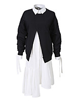 cheap -Women's Two Piece Dress Midi Dress - Long Sleeve Solid Color Fall Shirt Collar Casual Loose 2020 Black One-Size / Asymmetrical